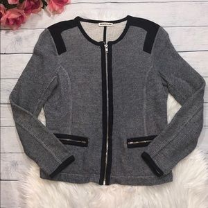 Whistles Gray Knitted Paneled Zip Up Jacket
